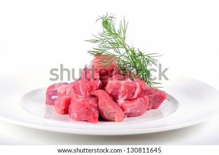 Fresh pork meat on white background - stock photo