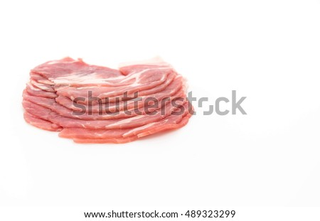 fresh pork sliced on white background