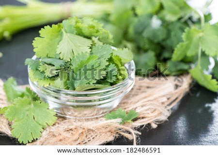 Fresh portion Cilantro as detailed close-up shot - stock photo