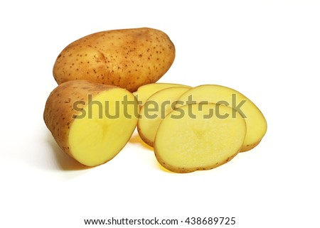 fresh potato  on white background close up - stock photo