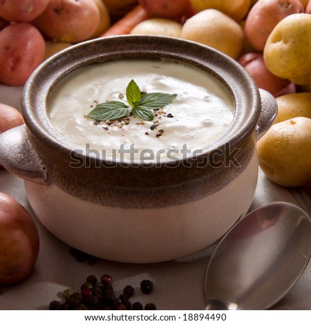 Fresh potato soup garnished with mint leaves, set on the table with various vegetables - stock photo