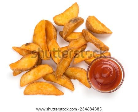 fresh potato wedges isolated on a white background - stock photo
