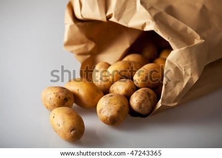 fresh potatoes in a brown paper bag - stock photo