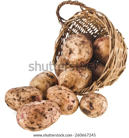 fresh potatoes in a wicker basket isolated on white background - stock photo