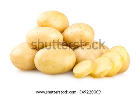 fresh potatoes isolated on white background - stock photo