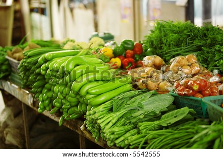 Fresh produce at an outdoor Asian market