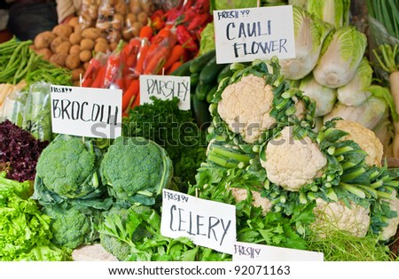 Fresh produce of different vegetables - stock photo