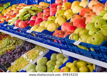 Fresh produce on display, full frame take - stock photo