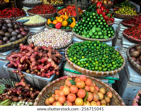 Fresh produce on sale at the local farmers market - stock photo