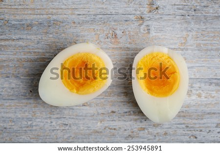 Fresh Quail Eggs cooked and cut in Half - stock photo