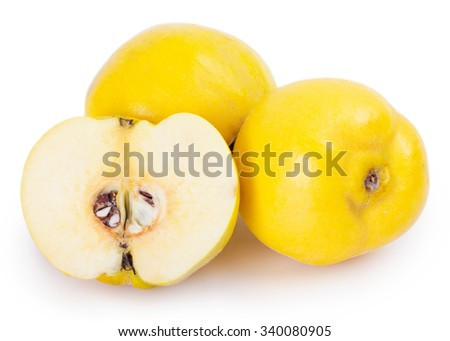 fresh quince isolated on white background - stock photo