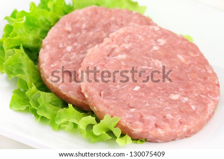 Fresh rabbit burgers with a leaf of lettuce on a white plate - stock photo