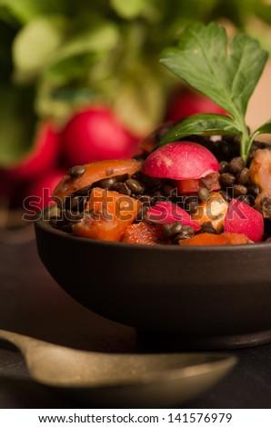 Fresh radish salad with green italian parsley. Vegetarian and Vegan. - stock photo