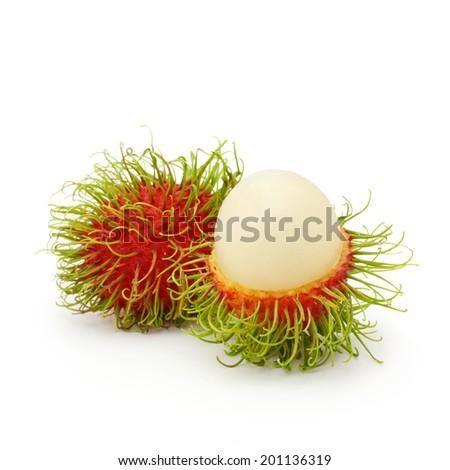 Fresh rambutan isolated on a white background - stock photo