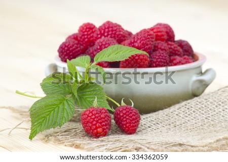 fresh raspberries in a bowl - stock photo