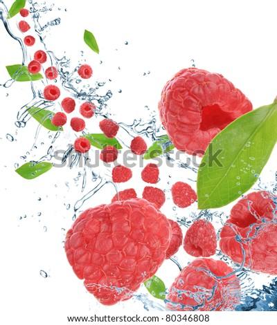 Fresh raspberries in motion - stock photo