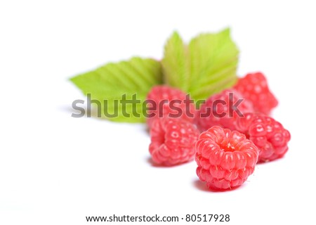 fresh raspberries isolated on a white background - stock photo