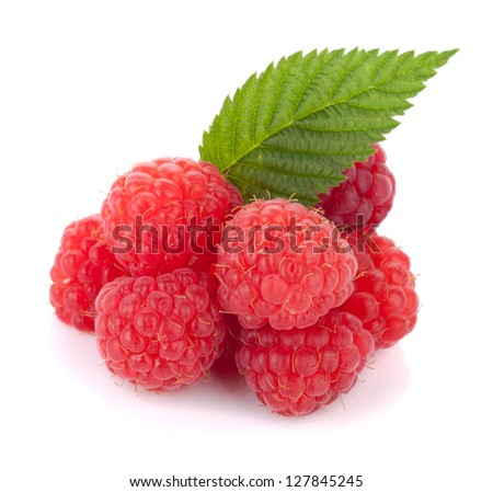 Fresh raspberries with green leaf. Isolated on white background - stock photo