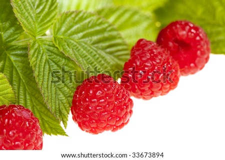 fresh raspberries with leaves, isolated on white, shallow DOF