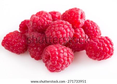 fresh raspberry isolated on white background - stock photo
