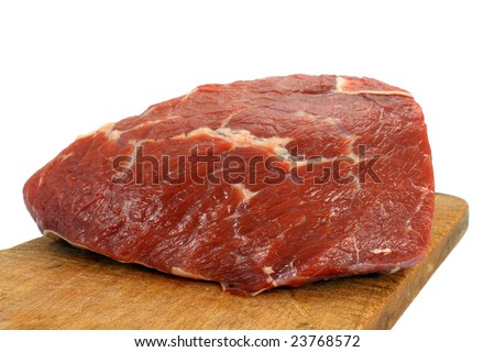 Fresh raw beef isolated on white - stock photo