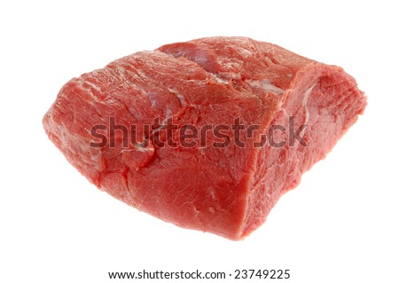 Fresh raw beef isolated on white background