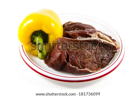 Fresh Raw Beef Meat with Yellow Capsicum