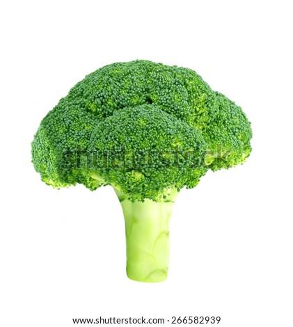 Fresh raw broccoli isolated on white  - stock photo