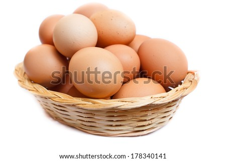 fresh raw brown eggs in a basket.