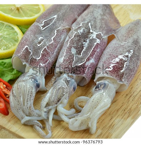Fresh raw calamari and lemon - stock photo