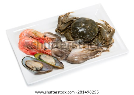 Fresh raw crab, small octopus, shrimp and mussels for the preparation of various seafood dishes. From a series of Food Korean cuisine. - stock photo