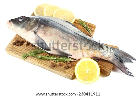 Fresh raw fish on cutting board and food ingredients isolated on white