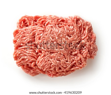 fresh raw ground pork heap isolated on white background, top view