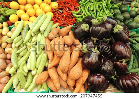 fresh raw heap of vegetables on market taken right to you table