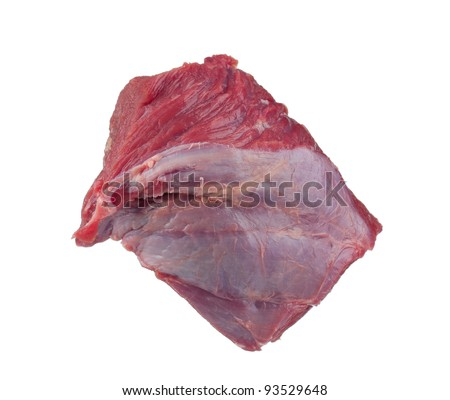 Fresh raw juicy meat on a white background - stock photo