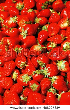 fresh raw lot of strawberries on counter - stock photo