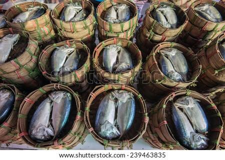 Fresh raw mackerel fish in market with in the shade - stock photo