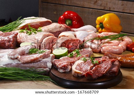 Fresh Raw Meat  - stock photo