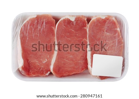 Fresh Raw Meat in package, isolated on white background - stock photo