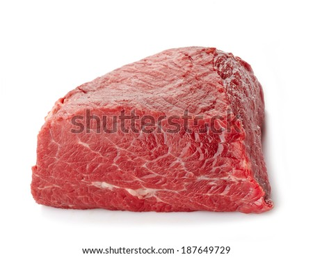 fresh raw meat on a white background - stock photo