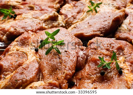 Fresh raw meat ready to grill - stock photo