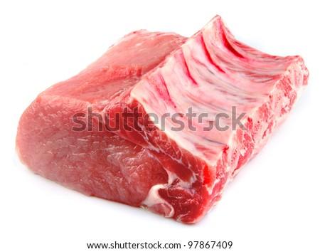 Fresh raw meat(ribs) on white - stock photo