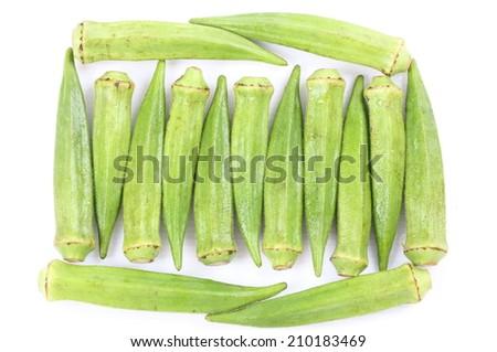 Fresh raw okra isolated on white background - stock photo