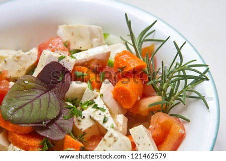 Fresh Raw Organic  Salad with Amaranth Greens and Rosemary - stock photo