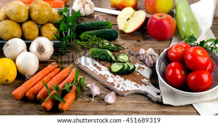Fresh raw organic vegetables and fruits. Food background.