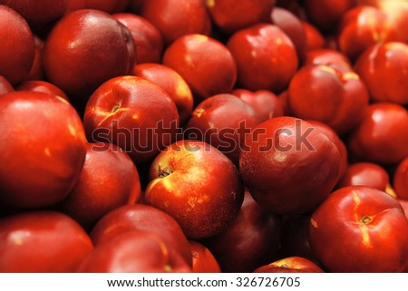 fresh raw peach tasty heap taked now from market to you table for enjoy - stock photo