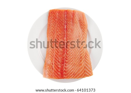 fresh raw red fish fillet on white plate - stock photo