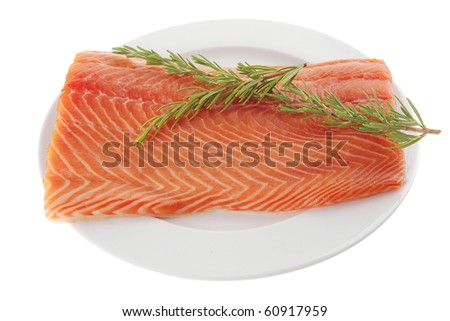 fresh raw red fish fillet on white plate and rosemary - stock photo