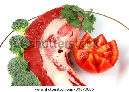 fresh raw red meat steak on white dish