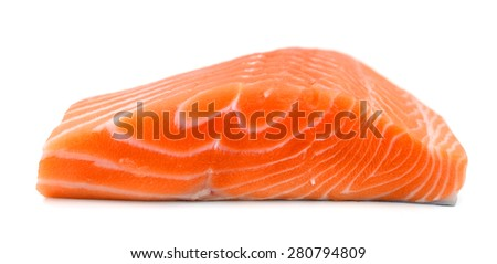 fresh raw salmon fillet on white background  - stock photo